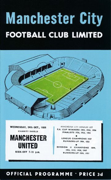 1956 FA CHARITY SHIELD  Manchester City v Manchester United - Full replica match programme